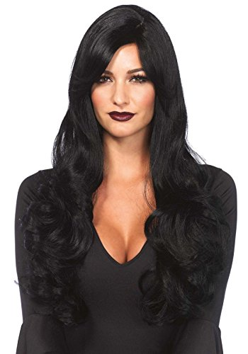 Leg Avenue Women's Long Wavy Wig, Black, One (Halloween Wigs For Women)
