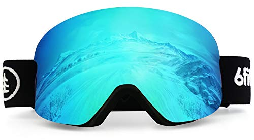 Ski Goggles & Snowboard Goggles - Premium snow goggles Men and women - 2 Seconds Magnetic Quick Change Lens, dynamic contrast full REVO coating, multi Layer Anti Fog Lens, UV400 Over Glasses