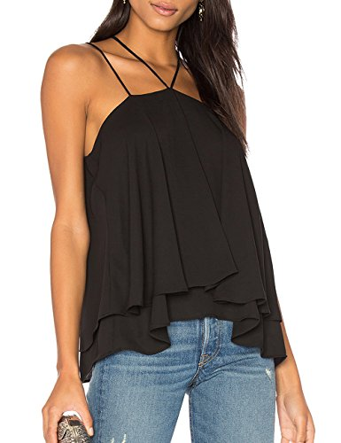 Double Halter - Ally-Magic Women's Sleeveless Tank Tops Double Strap Layered Chiffon Blouse C4732 (M, New Black)
