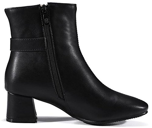 IDIFU Womens Dressy Square Toe Buckle Side Zipper Motor Ankle Boots With Mid Chunky Heels Black 7QQpuiE4dr