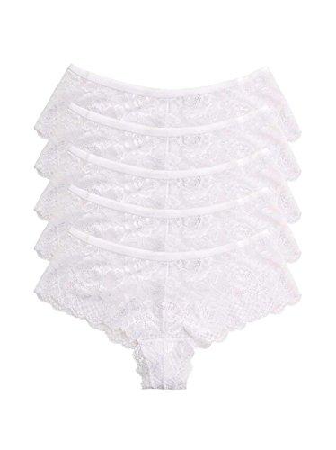 Bridal Thong Low Bow Rise (Felina | Lush Lace Cheeky Boyleg | Panty | 5-Pack | Low Rise | Bow | Keyhole (White, Small))