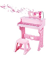 Keyboard Toy for Kids 37 Keys Electronic Musical Instrument for Girls Gift EducationalMusic Toy with Detachable Legs, Microphone, Multiple Music Modes, Light, Stool
