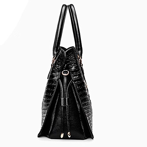 Cuir Top 2 Main à Pcs En Sac Sac Set Crocodile Handle Black Sac Multicolor Fashion Lady à Main à Main Pu qcP0wwAS