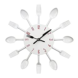 LEKALAS New Modern Kitchen Wall Clock Sliver Cutlery Clocks Spoon Fork Creative Wall Stickers Mechanism Design Home Decor White