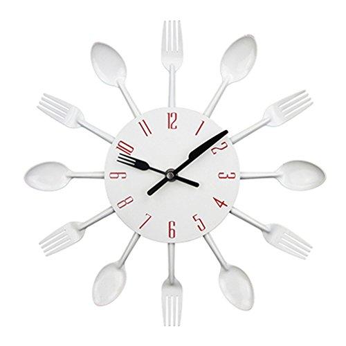 Kitchen Wall Clock Sliver Cutlery Clocks Spoon Fork Creative Wall Stickers Mechanism Design Home Decor -