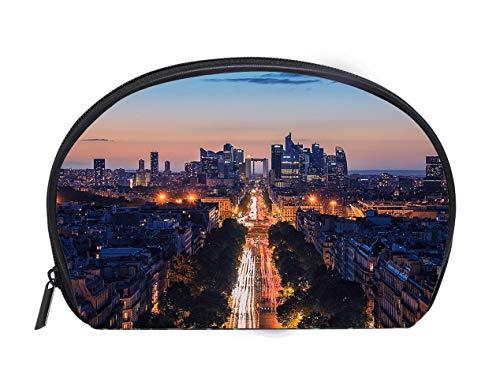 (Half-moon Cosmetic Bag Champs Elysees in Paris Ladies Travel Convenience Small Wash Bag Storage)