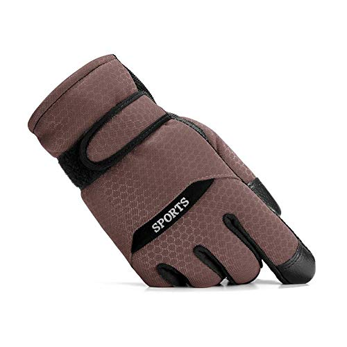 CJC Gloves Winter Men Women Unisex 100 Percent Sports Waterproof Windproof Breathable Cycling Skiing (Color : Brown, Size : ONE - Percent Mitten 100