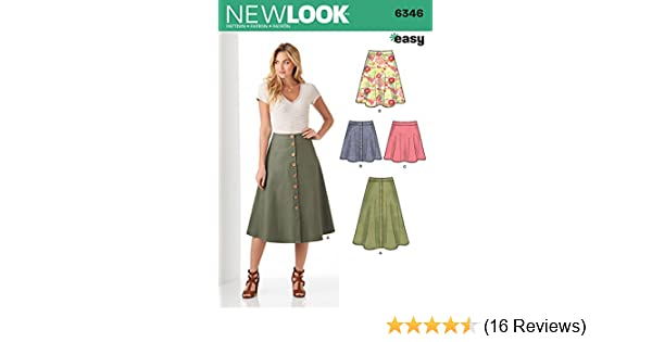 8-10-12-14-16-18 Size A New Look Sewing Pattern 6843 Misses Skirts