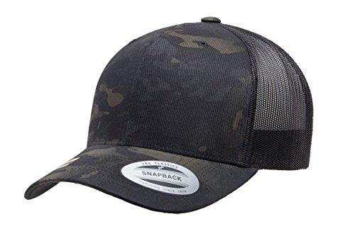 Flexfit/Yupoong Retro Trucker Snapback Cap | Mesh Back, Adjustable Ballcap w/Hat Liner (Black Multicam)