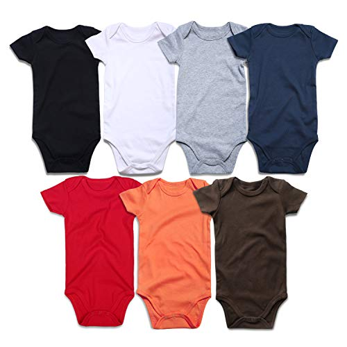 ROMPERINBOX Unisex Solid Multicolor Baby Bodysuits 0-24 Months (BK W G R N O B Short Sleeve 7 Pack, 18-24 Months)