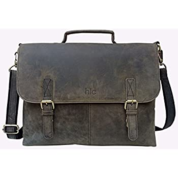 Amazon.com: Handolederco Greenish Black Vintage Buffalo Leather ...