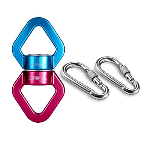 mdairc Safety Rotational Device, Aluminum Alloy Double-Ball Bearing Swivel, Holds Up 8500+ Lbs, Minimum Breaking Strength 40 kN, Spins & Rotates 360° For Smooth Rope Climbing, Hiking & Exercise (Rotation Device)