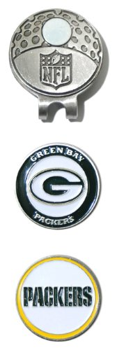 Team Golf NFL Green Bay Packers Golf Cap Clip with 2 Removable Double-Sided Enamel Magnetic Ball Markers, Attaches Easily to Hats ()