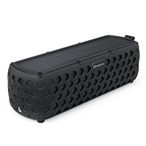 Solar Bluetooth Speaker, Dreamix 30+ Hours Playtime Portable Wireless Stereo Bass IP65 Splashproof Outdoor Bluetooth 4.0 Speaker for Beach, Poolside, Shower, Bike, Camping - Black