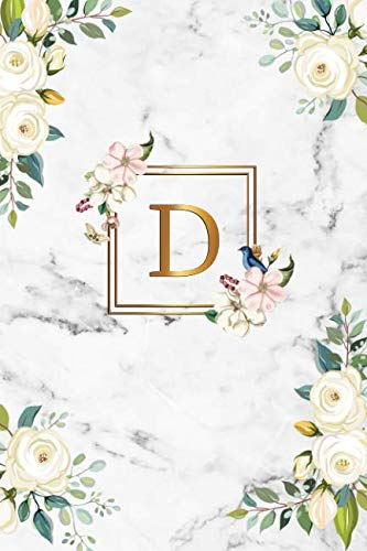 - D: Cute Initial Monogram Letter D Dot Grid Bullet Notebook. Nifty Personalized Journal & Diary with Dotted Grid Pages for Girls and Women - Cute Grey Marble & Gold Floral Print