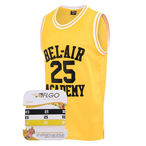 018c669f0 AFLGO Banks  25 Fresh Prince of Bel Air Academy Basketball Jersey S-XXXL  Yellow