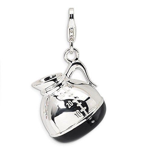925 Sterling Silver Rh 3 D Enameled Coffee Pot Lobster Clasp Pendant Charm Necklace Household Fine Jewelry Gifts For Women For Her
