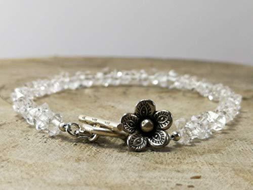 Herkimer Diamond Quartz Gemstone April Birthstone Bracelet with Flower Karen Hill Tribe Custom Size - 6,6.5,7,7.5,8,8.5 -