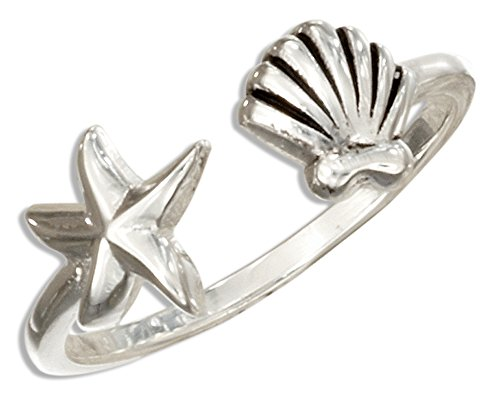 Sterling Silver Open Ring with Starfish and Scallop Shell (size - Scallop Sterling Silver Shell Ring