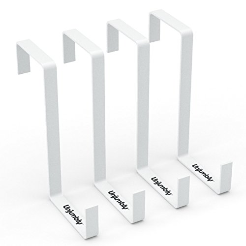 Door Storage from Unjumbly - 4 Pack - Sturdy Metal Reversible Design Over the Door Hook to Fit Over the Two Most Popular Door Widths (White)