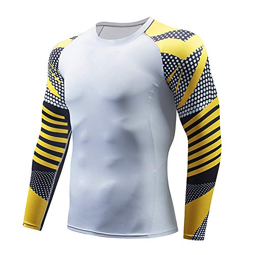 Yellow Series Men's Sports Compression Apparel Base Layers Workout Long Sleeve Shirt Tattoo Running Motion Training…