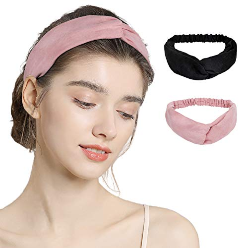 Boho Headbands for Women, Twisted Criss Cross Head Wraps, Stretch Vintage Hair Band Accessories for Girls, Elastic Solid Color Headband for Casual Travel Work Sport, Modern Fashion Style Turban Headbands (D-black+pink)