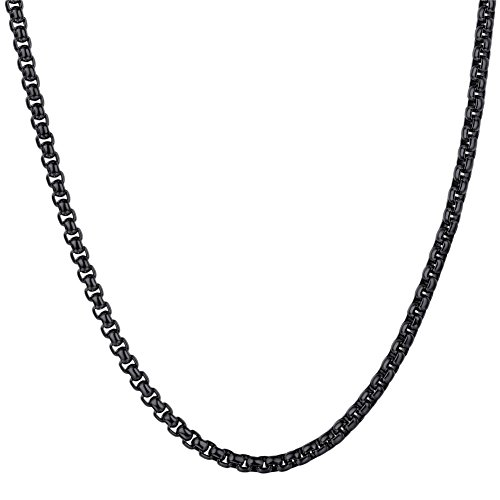 Titanium Rolo - U7 Boys Girls Chain Small Thin Square Rolo Chains for Pendant Stainless Steel 3mm Wide Box Chain Necklace, Length 18