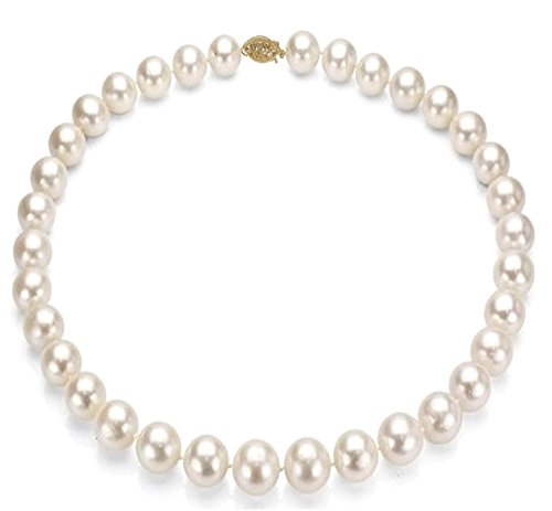 14k Gold 10-11mm White Freshwater Cultured Pearl Necklace - Bridal Wedding Gift by Pearlyta