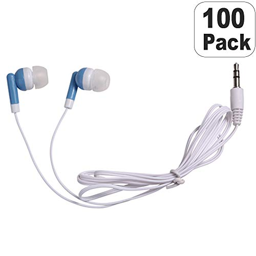 Wholesale Bulk Earbuds Headphones Individually Bagged 100 Pack For Iphone, Android, MP3 Player (Blue) from CN-Outlet