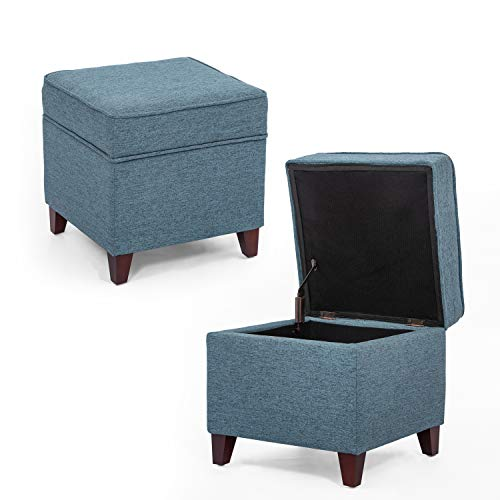 Adeco Fabric Ottoman with Storage Chest and Footrest - Square Seat, 18x18x15, Turquoise Blue