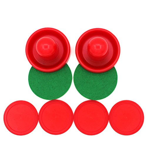 TOYMYTOY 4Pcs Air Hockey Pucks, 2 Pcs 76mm Paddles, Table Game Replacement (Red)
