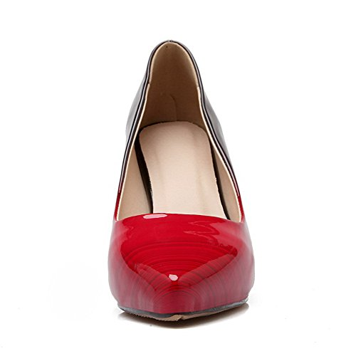 AmoonyFashion Womens Pull On Pointed Closed Toe Spikes Stilettos Patent Leather Solid Pumps Shoes Red pMg05G