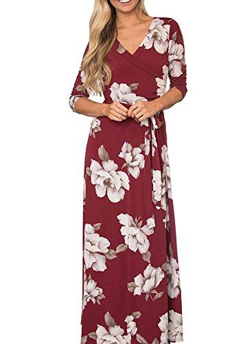 MIHOLL Women's Paris Bohemian 3/4 Sleeve Faux Wrap Maxi Dress Long (X-Large, A- Red)
