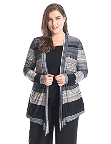 Chicwe Women's Stripes Printed Waterfall Front Plus Size Twofer Top 2XL, Black/Grey