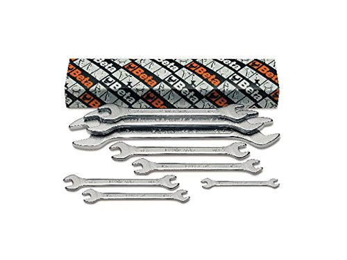 Beta 55/S8 Open End Wrench Set, 8 Pieces ranging from 6mm x 7mm to 20mm x 22mm in box, with Chrome Plated from Beta Tools