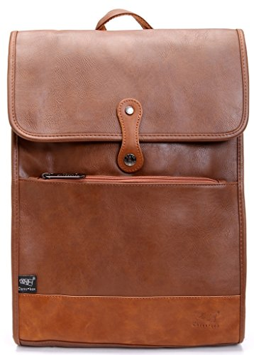 Zebella Men's Pu Leather Travel Duffle Tote College Backpack Casual Daypack, Lightbrown, 16.5