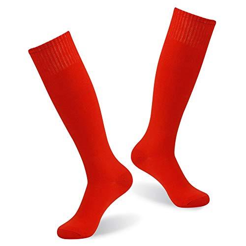 Funky Long soccer Socks, diwollsam Men Women Outdoor Athletic Team Sport Colorful Keen High Basketball Football School Uniform Socks 2 Pairs(Red)