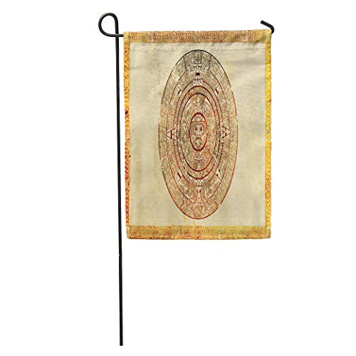 (YhouqukehTshirt Garden Flag Aztec Maya Prophecy on Ancient Parchment Calendar Culture Tribal Accurate Home Yard House Decor Barnner Outdoor Stand 12x18 Inches Flag)
