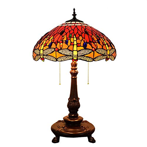 Tiffany Style Lamp Stained Glass Red Dragonfly Art Table Lamp Antique Style Column Lamp Lighting 220v Living Room Bedroom Bedside Lamp 18