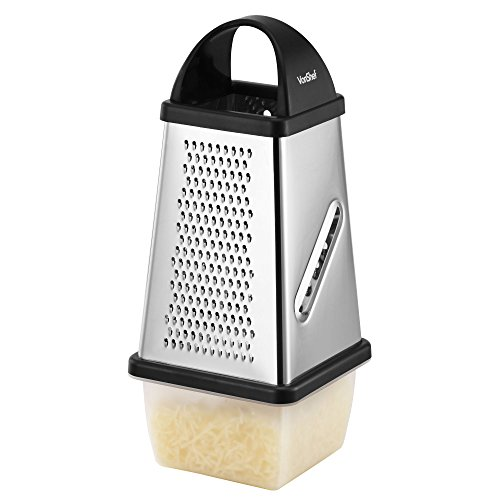 VonShef Stainless Steel 4 Sided Cheese, Fruit, Veg, Chocolate Grater with Collection Box and Lid