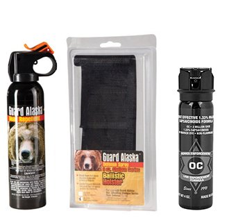 Guard Alaska 9 oz. Bear Repellent w/Belt Loop Holster & Pepper Enforcement 4 oz. Max Strength Law Enforcement 10% OC Pepper Spray