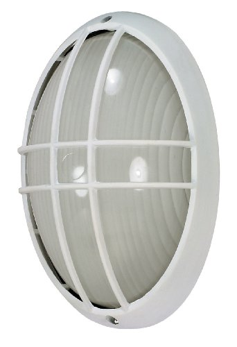 Nuvo Lighting 60/528 Bulkhead 1-Light Large Oval Cage 60W A19, Semi Gloss (Light Fixtures Oval Bulkhead Cage)
