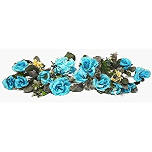 "Beautiful Turquoise Teal Swag 30"" Silk Wedding Flowers Roses Hydrangea Arch Centerpieces 98"