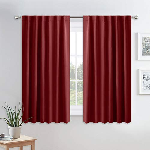 PONY DANCE Blackout Curtains for Bedroom - Decoration Xmas Festival Window Treatments Light Block Thermal Curtain Drapes Set Energy Saving, Wide 52 by Long 54 Inch, Red, 2 ()