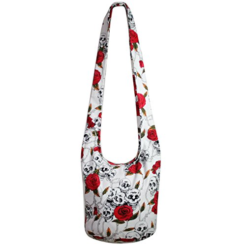 Skull Rose Hippie Hobo Boho Crossbody Bohemian Handbags Messenger Bags Purse (White)
