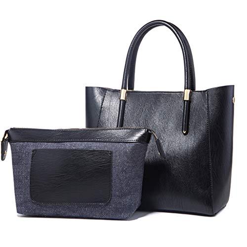 2 Tout Sac PU Black Messenger Ensemble Carré Bag Femelle Sac Lxf20 Moyen Fourre Couleur Pièce U01Pqgxw