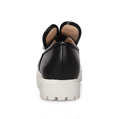 AllhqFashion Womens PU Solid Pull-On Round Closed Toe Low-Heels Pumps-Shoes With Bows Black HxSDmbFk