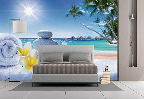 iPrint Large Wall Mural Sticker [ Spa Decor,Spa Treatment on Tropical Beach Sunshines Palm Trees Bungalows Wooden Deck, Self-Adhesive Vinyl Wallpaper/Removable Modern Decorating Wall (Spa Treatments Paris)