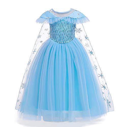 Smilax Princess Elsa Halloween Costumes for Girls Birthday Party Dress Toddler Costume 3t -10t (Blue, Height 47