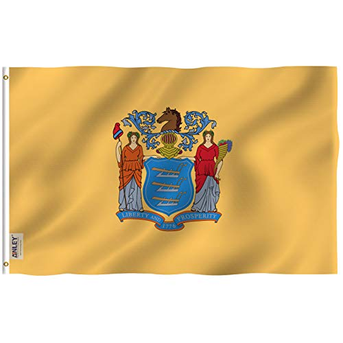Anley |Fly Breeze| 3x5 Foot New Jersey State Flag - Vivid Color and UV Fade Resistant - Canvas Header and Double Stitched - Newjersey NJ Flags Polyester with Brass Grommets 3 X 5 Ft
